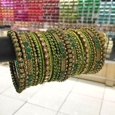 Green Thread Bangles for a menhdi bride. Bridal Bangles, Gold Bangles, Bridal Jewelry, Silver Jewelry, Silver Bracelets, Crystal Jewelry, Bangle Bracelets, Indian Bangles, Silver Rings