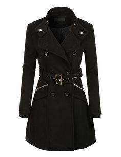 6fdbcc00d712 LE3NO Womens Military Double Breasted Trench Pea Coat Jacket Military Trench  Coat, Trench Coat Style