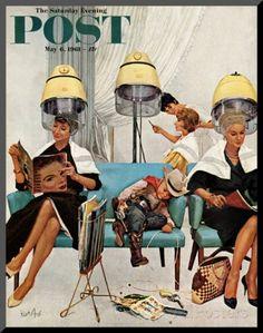 """Sovande cowboy i skönhetssalong, """"Cowboy Asleep in Beauty Salon"""", Saturday Evening Post Cover, 6 maj 1961 - Monterat tryck av Kurt Ard på Al..."""