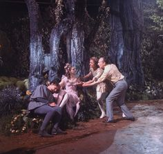 "New York City Ballet production of movie version of ""A Midsummer Night's Dream""; George Balanchine on the set with Richard Rapp as Bottom, Suzanne Farrell as Titania and Edward Villella as Oberon, choreography by George Balanchine (New York)"