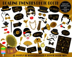 Items similar to Photo Booth Props - 19 Piece Roaring Twenties on Etsy Roaring Twenties, The Twenties, 1920s Halloween Costume, Old Microphone, Photobooth Props Printable, A Little Party, Retro Watches, Photo Booth Props, Printables