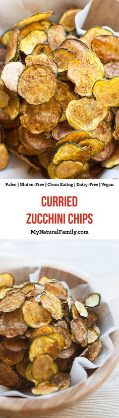 Curried Baked Zucchini Chips Recipe {Paleo Gluten Free Clean Eating Dairy Free Vegan - 5 simple ingredients and an oven on low heat is all you need! Paleo Recipes, Low Carb Recipes, Whole Food Recipes, Snack Recipes, Cooking Recipes, Dairy Free Zucchini Recipes, Free Recipes, Dessert Recipes, Pasta Sin Gluten