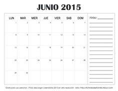 descarga e imprime gratis calendarios con espacio para notas calendario junio