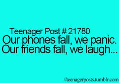 no. our friends fall, we help them our best friends fall we laugh and take a picture.