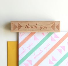 Thank You Rubber Stamp, Original Typographic Triangles Design (Wood Mounted)