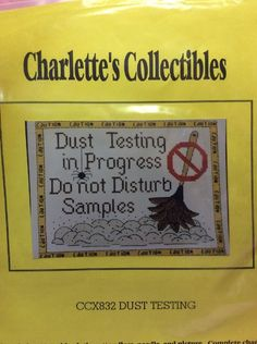 """1997 Charlette's Collectibles Cross Stitch kit CCX832. """"Dust Testing"""""""