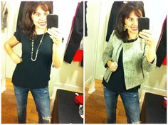 Both of these pieces are awesome.  Great basic black blouse with such a cute cut, and the tweed jacket is FABULOUS.