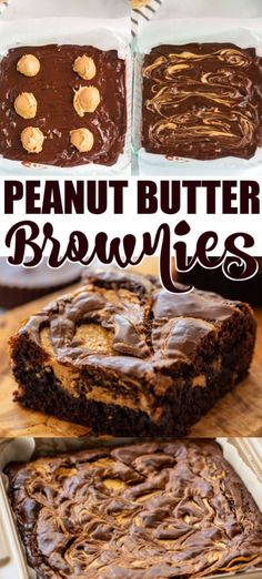 The Best Peanut Butter Brownies Recipe! Soft, chewy and swirled with peanut butt.The Best Peanut Butter Brownies Recipe! Soft, chewy and swirled with peanut butter our homemade brownies (or use a brownie mix), loaded with Reese's Peanut Butter Mini Desserts, Easy Desserts, Delicious Desserts, Easy Peanut Butter Desserts, Brownies With Peanut Butter, Easy Peanut Butter Recipes, Chocolate Peanut Butter Dessert, Recipes For Desserts, Chocolate Peanut Butter Brownies