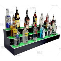 If you are looking for a high quality LED Liquor Shelf at an affordable price, then look no further! Plus, we are offering FREE SHIPPING on these 3 step (also called 3 Tier) shelves! Our woodshop has been hard at work creating these shelves. They are a great way to display liquor bottles at your bar, in your home, or in a man cave! You will love the beautiful ambient light that the LEDs provide. Each unit comes with a 44 key remote control that features many different light show settings…