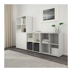 IKEA - EKET, Storage combination with feet, white/light gray, , An asymmetrical storage solution that becomes personally yours when filled with your belongings.The door has an integrated push-opener so you can open it with just a light push.