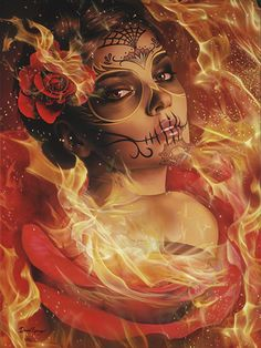 Burning Desire by Daniel Esparza Canvas Giclee Art Print Tattoo Sugar Skull - Giclee Art - Ideas of Giclee Art Sugar Skull Mädchen, Sugar Skull Makeup, Sugar Skull Tattoos, Day Of The Dead Girl, Day Of The Dead Skull, La Catarina Tattoo, Tattoo Gesicht, Canvas Art Prints, Fine Art Prints