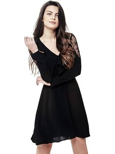 DRESS WITH LACE SHOULDERS on Guess.eu