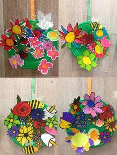 PRIMAVERA - Material: plat plàstic, cinta, paper, tisores, ceres toves, cola - Nivell: CI 2014/15 Escola Pia Balmes