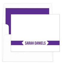 Purple Banner Foldover Note Cards