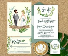 Wedding Invitation Illustrated, Illustrated Couple Wedding Invitation, Wedding Invitation Set, Couple Portrait, Elegant Wedding Invitations
