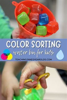 Learn how to create a color sorting sensory bin that also strengthens fine motor skills. Toddlers and preschoolers love this scooping, matching, and pouring activity! #color #recognition #sorting #water #sensory #table #activity #finemotor #toddlers #preschool #teaching2and3yearolds Preschool Color Activities, Preschool Lesson Plans, Sensory Activities, Hands On Activities, Toddler Preschool, Sensory Bins, Sensory Table, Time Planner, Kindergarten Classroom