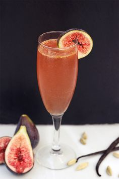 The Figgy Fizz! Made with homemade Fig, Vanilla Bean and Cardamom Infused Vodka, fig jam and prosecco.