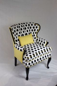 Great example of taking a boring traditional chair and giving it a whole new contemporary look with just the use of fabric, piping and paint. SOLD-CAN REPLICATE Vintage Channel Back Chair in Black/White Ikat and Yellow Linen Funky Furniture, Furniture Makeover, Painted Furniture, Painted Dressers, Furniture Nyc, Furniture Online, Furniture Companies, Plywood Furniture, Vintage Furniture