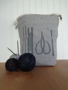 Trundle Bag- Maker's Tools Design, Roll Down Top Knitting Project Bag