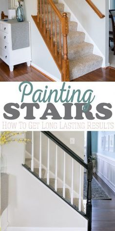 The easiest way to paint an old oak banister including railing and balusters. No priming, No chipping, and I love the classic look of black and white. #paint #homeimprovement #cravingsomecreativity