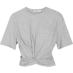T by Alexander Wang Cropped twist-front cotton-jersey T-shirt found on Polyvore featuring tops, t-shirts, shirts, crop tops, grey, grey button up shirt, grey button down shirt, crop tee, cropped tops and gray shirt