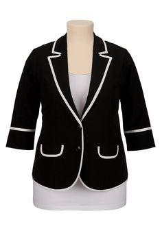 3/4 sleeve contrast trim plus size blazer - maurices.com