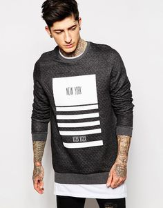 ASOS Longline Sweatshirt In Quilting With New York Print - that should be mine!