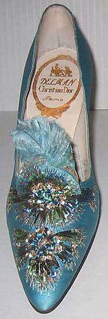 Roger Vivier - Dior - Escarpins 'Aigrette' - Soie, Perles et Plumes - 1957