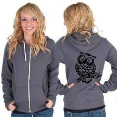 Owl American Apparel Hoodie by rainbowswirlz on Etsy