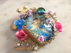 Vintage Statement Victorian fairy ring ,glass cab, rhinestones ,pearls,Miriam Haskell's elements , brass butterfliesy by Lunabarocca on Etsy