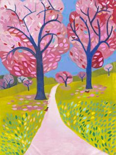 beautiful colors in this spring blossoms canvas!