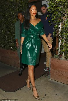 Rihanna looks glam in a green dress as she treats her mum to dinner on Mother's Day | Daily Mail Online