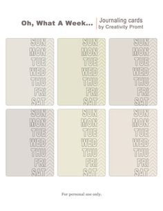 Free printable – Oh, What A Week… Journaling Cards #ProjectLife #Scrapbooking
