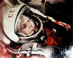 <b>Yuri Gagarin, 1961</b>; Soviet cosmonaut Yuri Gagarin was the first man to be in space. In this picture, he is in his capsule, during the flight.