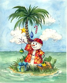 Tropical Christmas by Jerianne Van Dijk Caribbean Christmas, Tropical Christmas, Beach Christmas, Coastal Christmas, Christmas In July, Christmas Art, Vintage Christmas, Christmas Stockings, Christmas Decorations