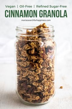 Easy cinnamon granola (oil-free, vegan, refined sugar-free)