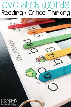 CVC Stick Words - Kindergarten Classroom - Learning to read is so much fun with this CVC Stick Word activity! Use for at-home learning or in a - First Grade Activities, Phonics Activities, Kindergarten Activities, Phonics Words, Cvc Words, Phonics Centers, Reading Task Cards, First Grade Sight Words, Beginning Reading