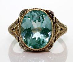 Antique 20's Deco 14k Rose Gold 4.27 Ct RARE Blue Green Aquamarine Filigree Ring