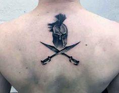 Small Back Spartan Tattoo On Man