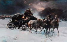 Alfred von Kowalski-Wierusz  Horses Coach Cold Winter Night vintage art