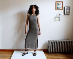 minimal / boho / 90s dress / ankle length / maxi / gauzy dress / side slits / back buttons / small houndstooth / m by almostALWAYSvintage on Etsy