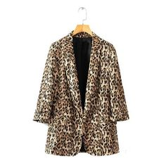 973e690c95 2018 Autumn Women Brown Leopard Blazers Female Jackets for Womens Outwear  Feminine Office Ladies Notched Collar