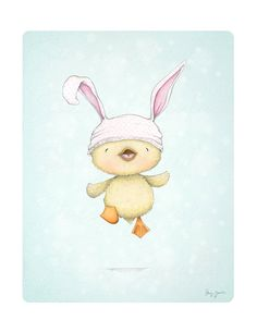 art print - children's wall art - duckling - spring - easter - bunny hats - baby…