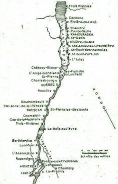 Nouvelle-France les emplacements des premières colonies françaises le long du fleuve Saint-Laurent au Québec.