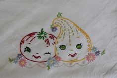 28 inch by 28 inch 100% cotton dishtowel hand embroidered with fun, fanciful 1930s and 1940s designs in cotton embroidery floss. Absorbent, long lasting, machine washable and dryable. First picture shows the design on this towel. Second picture shows the size of the towels.