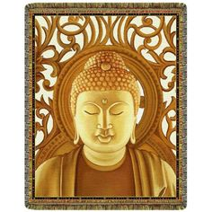 Gold Buddha Tapestry Throw  #yoga #blanket #healing #meditation #home #homedecor #decorating #reiki #spa #salon #healing #gold #buddha
