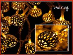 Maroq Battery 20 warm white LEDs intricate metal balls, round and oval shaped. Power Source 3 x AA Batteries (not included) Length Total 2.9m / Illuminated 1.9m Code: CBMAR RRP $19.95 Balls, Christmas Bulbs, Shapes, Warm, Holiday Decor, Metal, Home Decor, Christmas Light Bulbs, Decoration Home