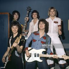 Pop group the Bay City Rollers, (back) Stuart Wood (Woody), Les McKeown, Derek Longmuir (front) Ian Mitchell, Eric Faulkner , pose for a group shot in May 1976 in Copenhagen, Denmark.