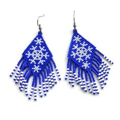 Free pattern for peyote earrings Snowflakes | Beads Magic