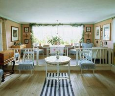 The sitting room where visitors can still see Karin's textiles & decor. Carl painted this room during it's many changes.